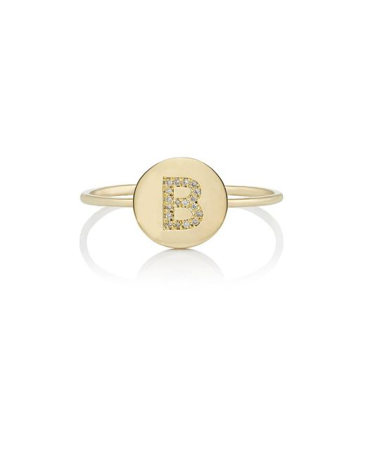 Jennifer Meyer - Metallic Mini Initial Disc Ring - Lyst