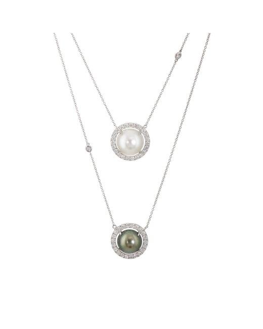 Samira 13 - Metallic Diamond & Pearl Continuous Necklace - Lyst