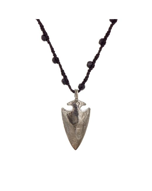 Feathered Soul - Black Arrowhead Pendant On Silk Cord - Lyst