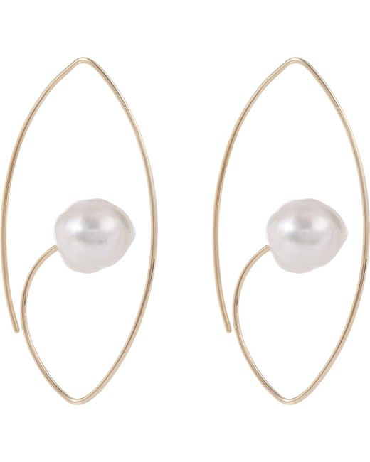 Hirotaka - Metallic White South Sea Pearl Floating Oval Earrings - Lyst