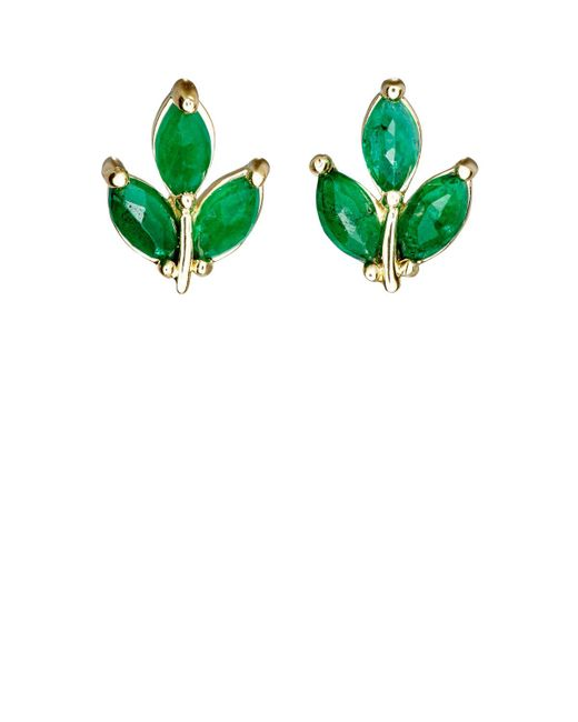 Finn - Green Leaf Stud Earrings - Lyst
