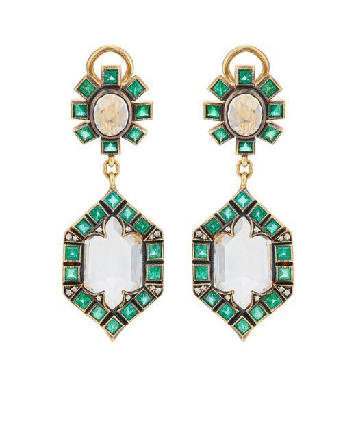Cathy Waterman - Metallic Mixed-gemstone Double-drop Earrings - Lyst