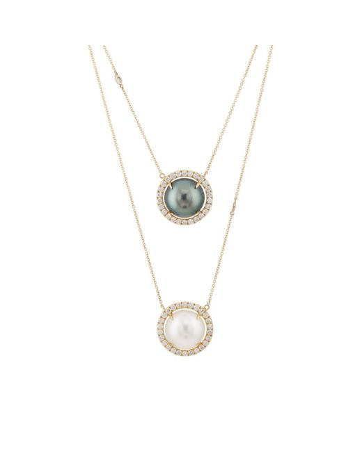 Samira 13 - White Diamond & Pearl Continuous Necklace - Lyst