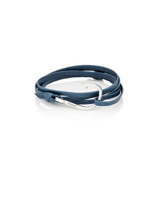 Miansai | Blue Hook On Leather Wrap Bracelet | Lyst