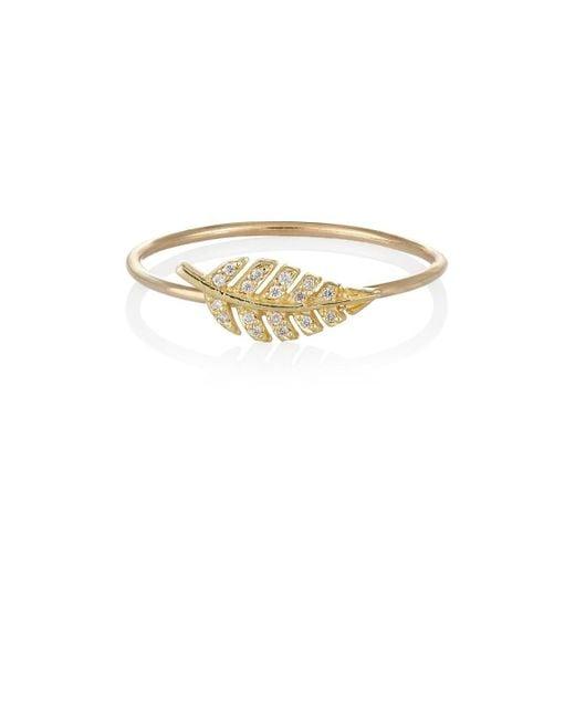 Jennifer Meyer - Metallic Diamond & Gold Leaf Ring Size 6.5 - Lyst
