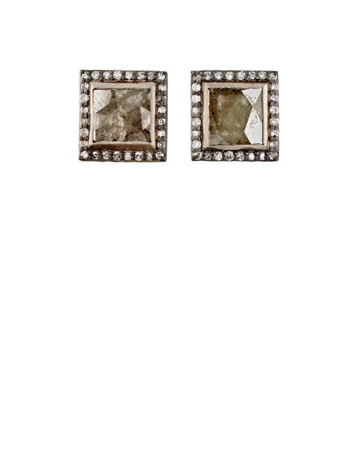 Nak Armstrong | Multicolor Diamond Square Stud Earrings | Lyst