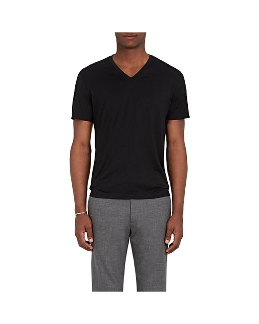 Theory - Black Claey Plaito Silk-cotton T-shirt for Men - Lyst