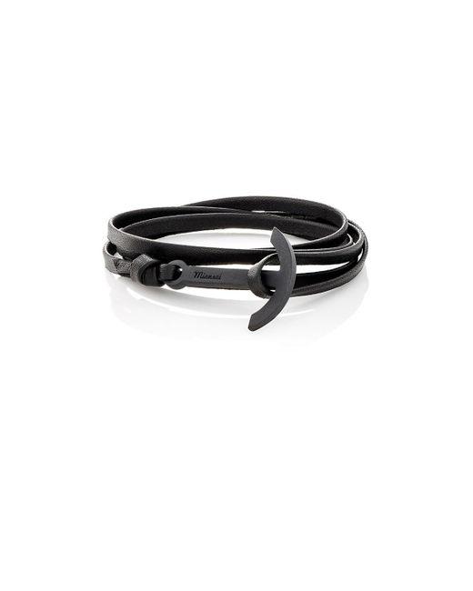 Miansai - Black Modern Anchor On Leather Wrap Bracelet for Men - Lyst