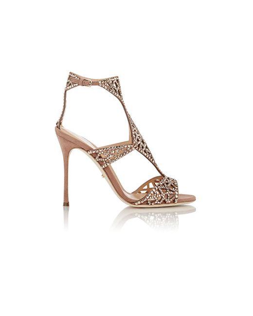 Sergio Rossi - Metallic Embellished Tresor T-strap Sandals - Lyst