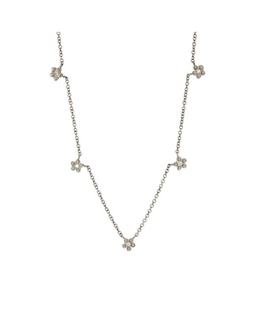 Cathy Waterman | Metallic White Diamond & Platinum Floral Necklace | Lyst