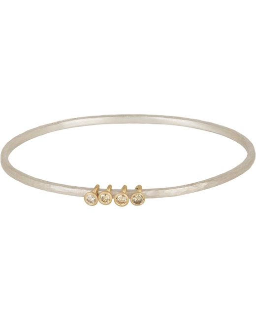 Malcolm Betts - Metallic Hammered Silver Bangle With Diamond & Gold Ring Charms - Lyst