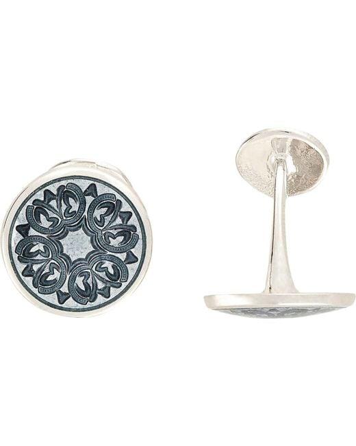 Barneys New York - Gray Floral-engraved Cufflinks for Men - Lyst