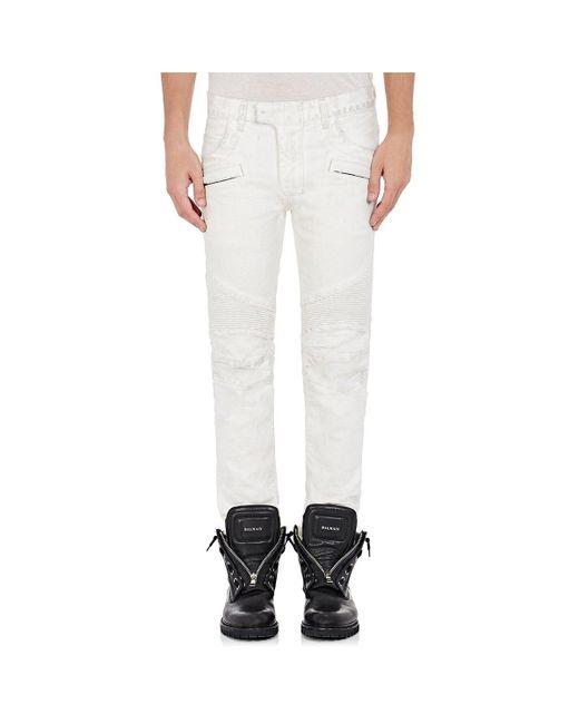 Balmain | White Biker Jeans for Men | Lyst
