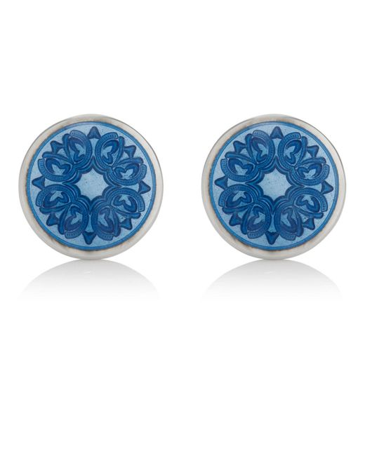 Barneys New York - Blue Floral Cufflinks for Men - Lyst