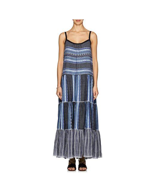 Lemlem - Blue Lucy Folkloric-striped Cotton-wool Maxi Dress - Lyst