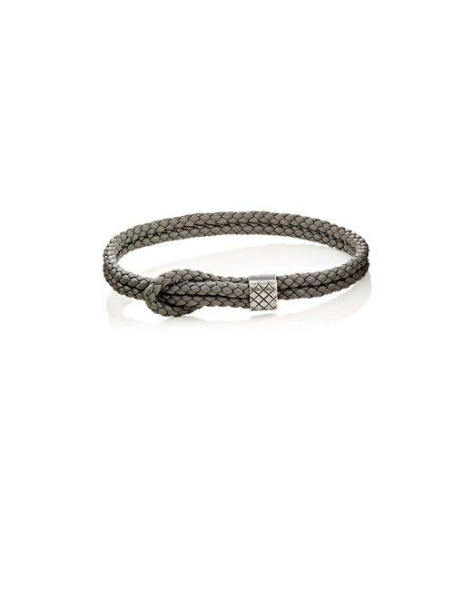 Bottega Veneta - Gray Sterling Silver & Intrecciato Leather Bracelet for Men - Lyst