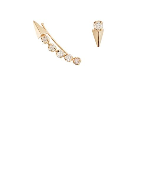 Loren Stewart - Multicolor Mismatched White Diamond & Yellow Gold Earrings - Lyst