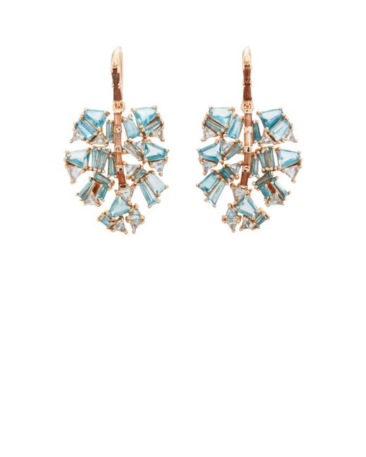 Nak Armstrong - Blue Monstera Palm Leaf Earrings - Lyst