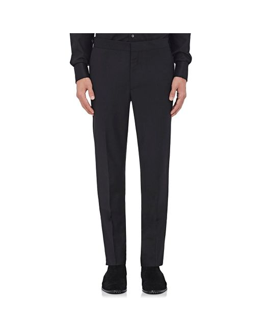 Burberry - Black Wool-mohair Flat-front Trousers for Men - Lyst