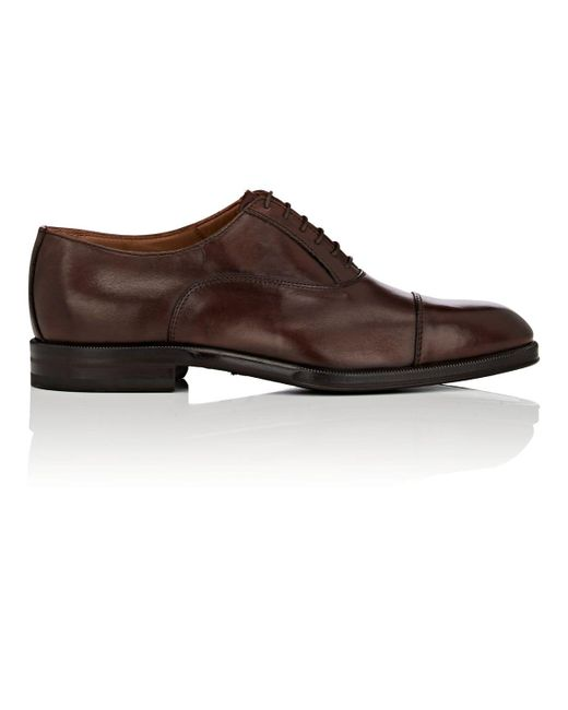 Barneys New York - Brown Cap-toe Burnished Leather Balmorals for Men - Lyst