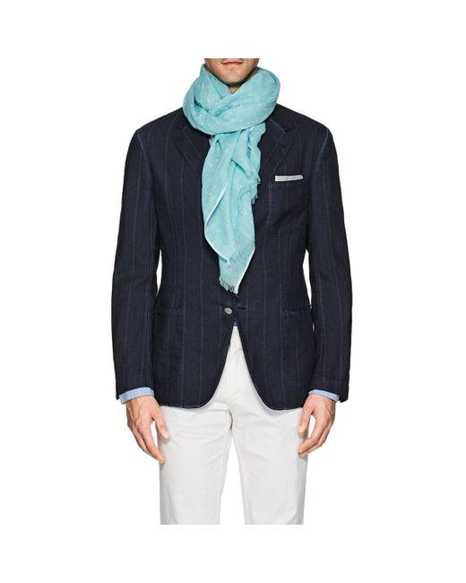 Barneys New York - Blue Polka Dot Linen for Men - Lyst