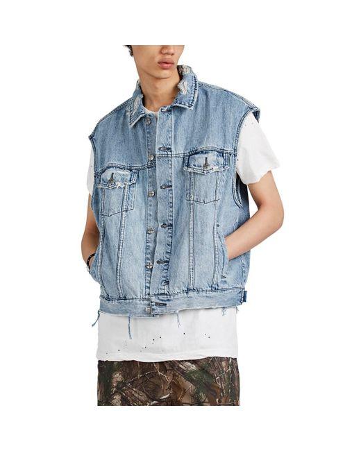 fedb1f77b2 Ksubi - Blue Vice Acid-washed Distressed Cotton Denim Vest for Men - Lyst  ...