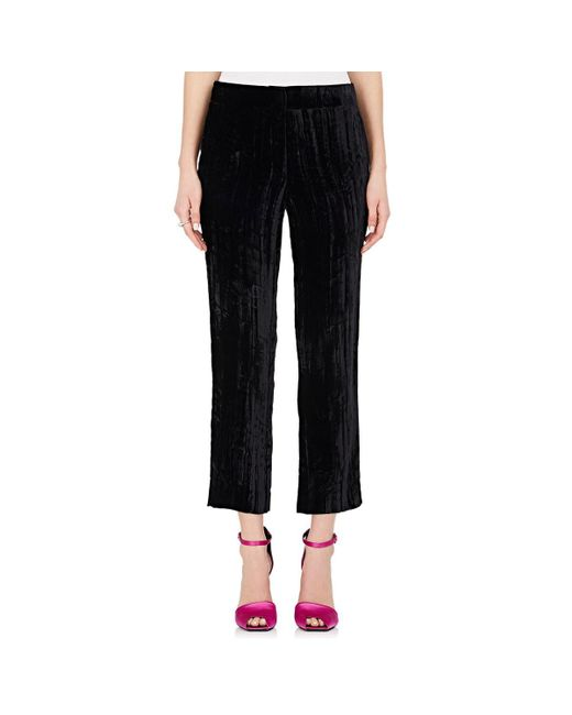 Koche - Black Crushed Velvet Ankle Trousers - Lyst