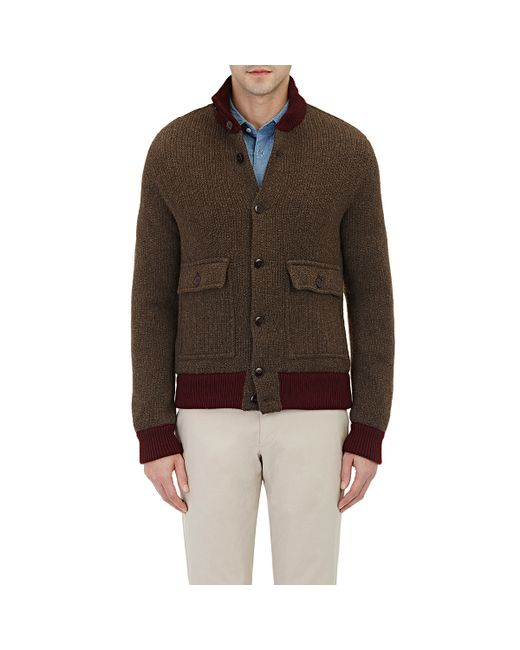Zanone Chunky Rib-knit Sweater Jacket in Brown for Men Lyst