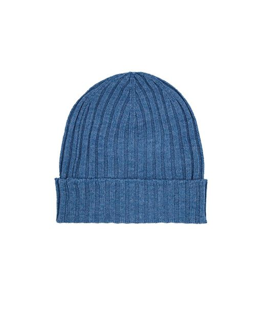 Barneys New York   Blue Ribbed Merino Wool Beanie for Men   Lyst