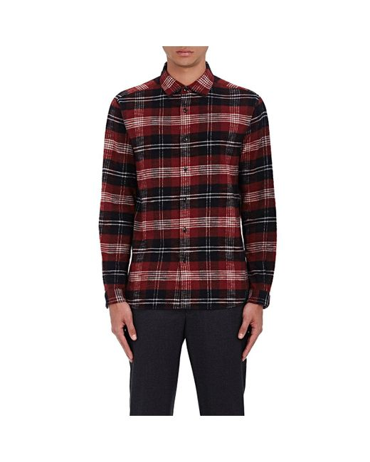 Tomorrowland Tartan Cotton Flannel Shirt In Red For Men Lyst