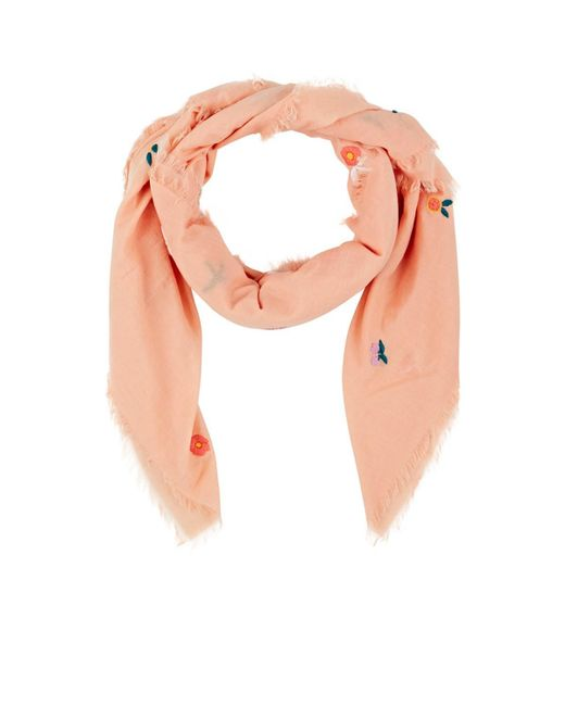Barneys New York - Multicolor Embroidered Cotton Voile Scarf - Lyst