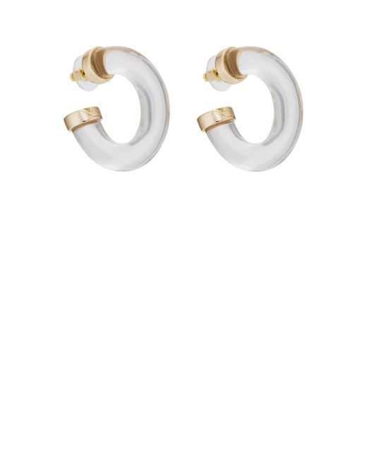 Kenneth Jay Lane - Metallic Thick Clear Hoop Earrings - Lyst