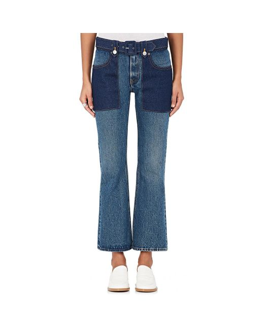 MM6 by Maison Martin Margiela - Blue Belted Flared Jeans - Lyst