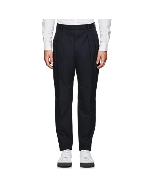 Officine Generale - Blue Cotton Pleated Trousers for Men - Lyst