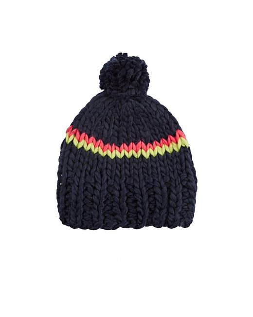Hat Attack | Blue Chunky Striped Hat | Lyst