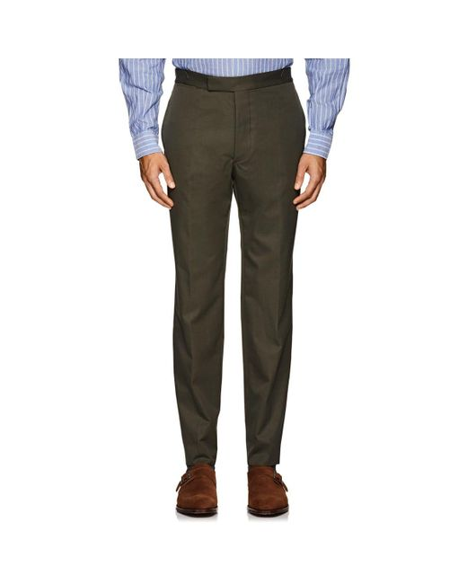 Officine Generale - Green Cotton Twill Trousers for Men - Lyst