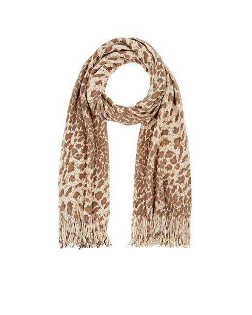 Barneys New York - Natural Leopard-print Rib-knit Scarf - Lyst