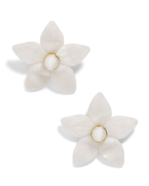 BaubleBar - White Mini Amariella Flower Stud Resin Earrings - Lyst