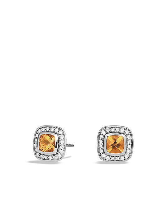 David Yurman | Metallic Petite Albion Earrings With Citrine And Diamonds | Lyst
