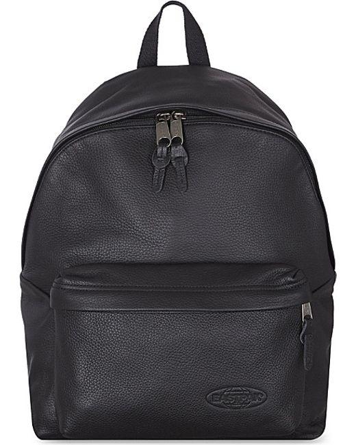 Leather Eastpak Backpack: Eastpak Padded Pak'r Backpack In Black (Black Leather)