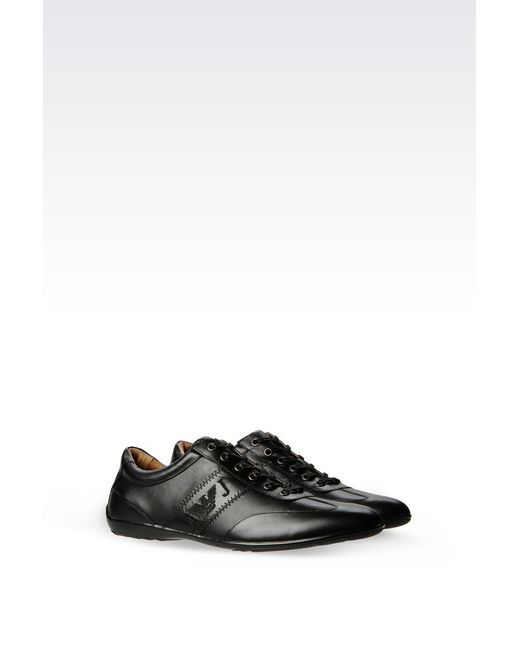 Armani Jeans | Black Classic Sneaker In Leather With Logo for Men | Lyst