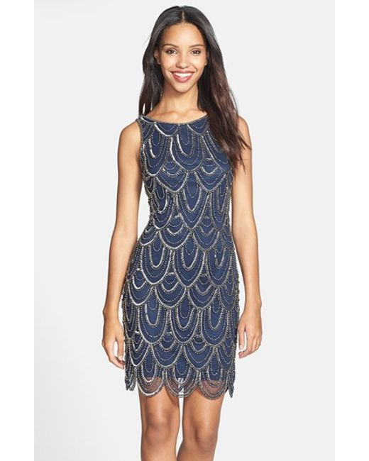 Pisarro Nights | Natural Embellished Mesh Sheath Dress | Lyst
