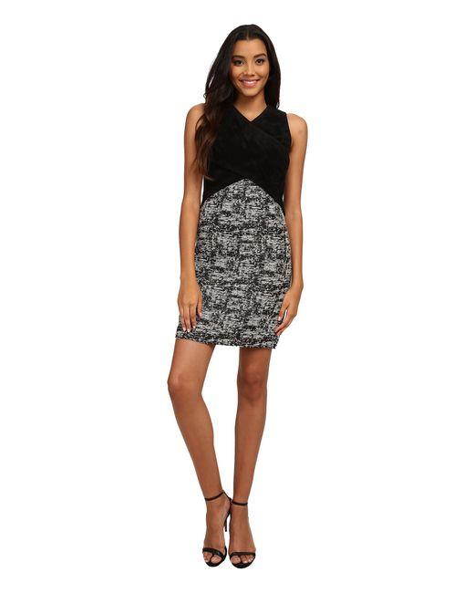 Calvin Klein | Black Cross Bodice Novelty Dress | Lyst