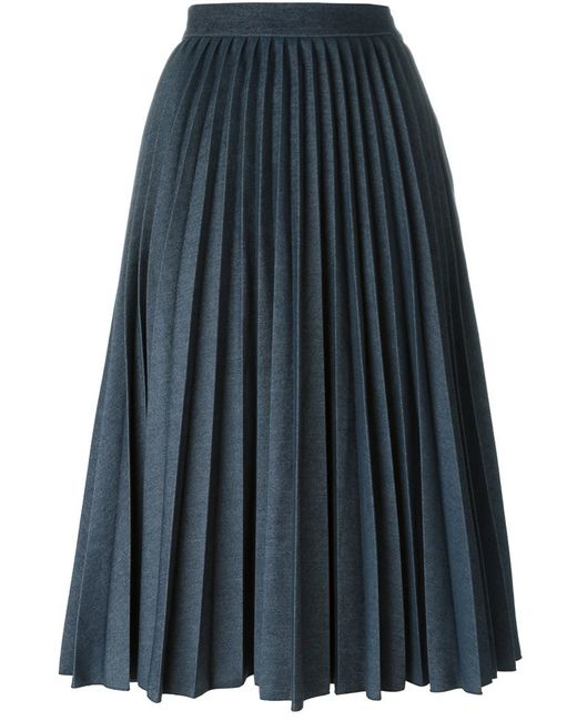 msgm pleated denim skirt in blue lyst