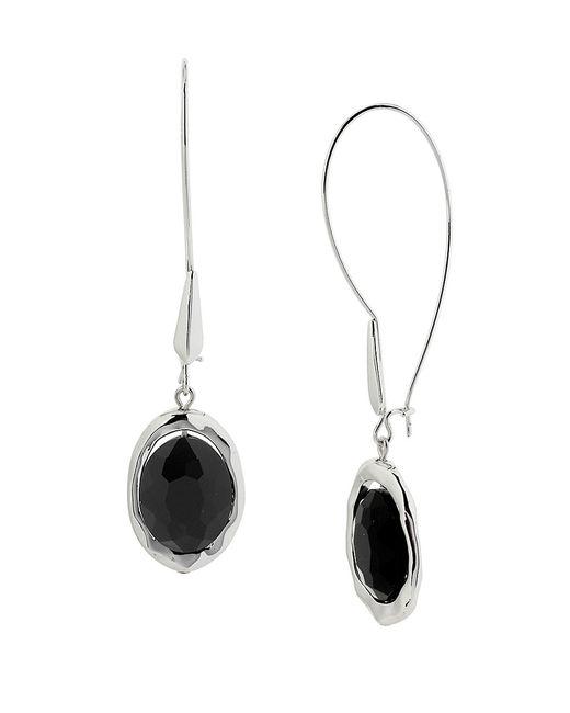 Robert Lee Morris   Silvertone And Black Crystal Drop Earrings   Lyst