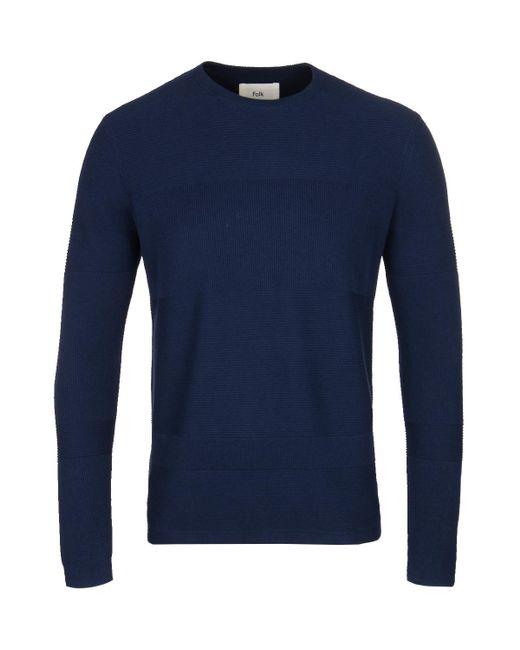 Folk - Blue Navy Fragment Crew Knitted Sweater for Men - Lyst