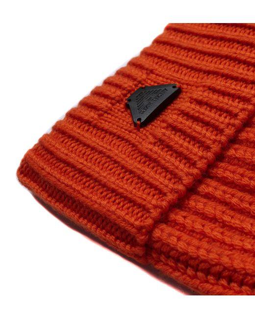63b1039b4794fb ... Armani Jeans - Orange Woollen Rib Knit Beanie Hat for Men - Lyst ...