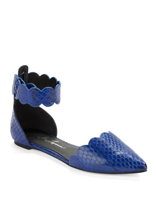 Isa Tapia | Blue Juan Snakeskin Flats | Lyst