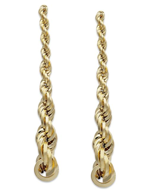 Macy's | Metallic Graduated Rope Linear Earrings In 14k Gold | Lyst