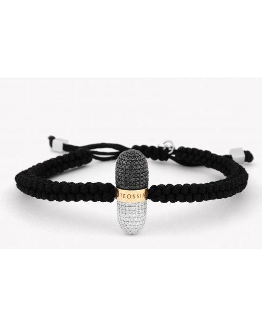 Tateossian | Black Pill Collection - Diamond Silver & Gold Micro Pavé Macramé Bracelet for Men | Lyst